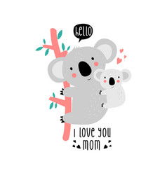 Cute mom and baby sloth print design with slogan vector