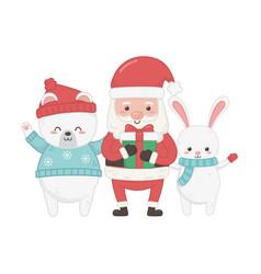 cute santa with gift rabbit polar bear animal vector image