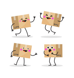 Delivery box set collection cartoon character vector