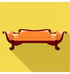 Digital orange sofa with round pillows vector