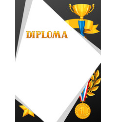 Diploma with realistic gold awards certificate vector