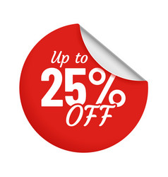 Discount for product up to 25 percent red sticker vector