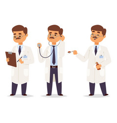 Doctor nurse character medical man staff vector