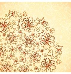 Doodle vintage flowers background vector image