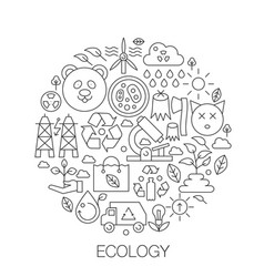 Ecology in circle - concept line for vector