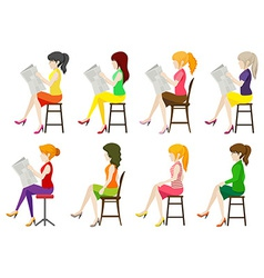 Faceless ladies sitting down vector image