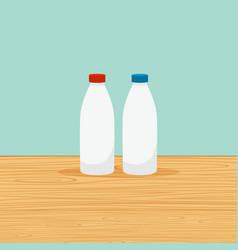 Farm bottles milk vector