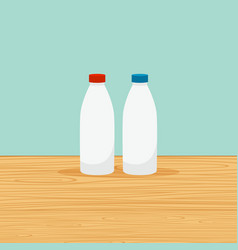 Farm bottles of milk vector