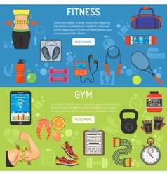 Fitness and gym horizontal banners vector