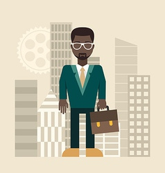 Flat design businessman with a briefcase vector image