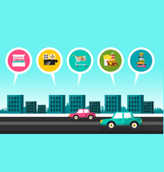 flat design city with cars on street and vector image