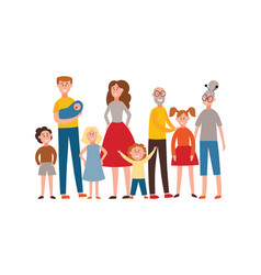 flat happy extended family stands together vector image
