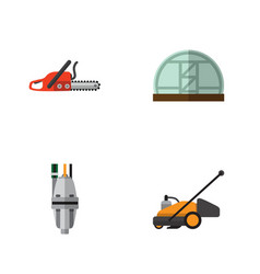 Flat icon farm set of hothouse pump lawn mower vector