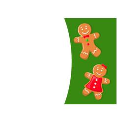 gingerbread cookies gingermen in bowtie and dress vector image