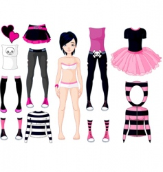 girl with dresses emo stile vector image