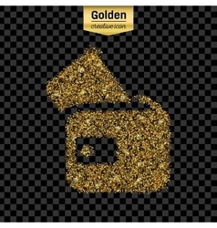 Gold glitter icon of wallet isolated on vector image