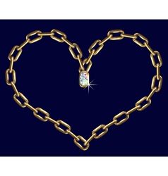 Golden chain heart vector image