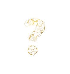 golden ornamental alphabet question mark font vector image