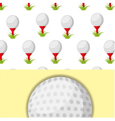 golf ball on tee and grass sport competition vector image