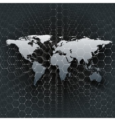 Gray world map connecting lines and dots on black vector