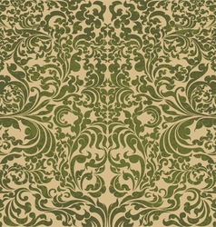 Green floral art pattern vector