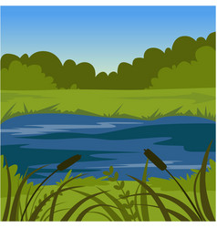 Green summer landscape with lake nature vector
