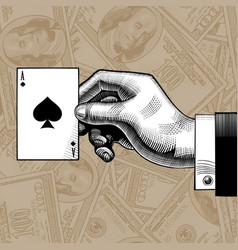 Hand with the ace of spades playing card on the vector