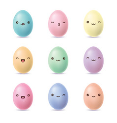 happy easter eggs set kawaii eggs with cute faces vector image
