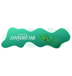 Happy janmashtami lovely peacock feather banner vector