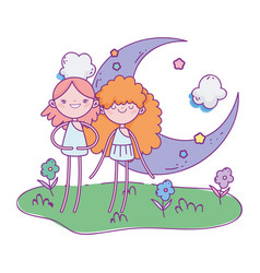 happy valentines day two cupid female moon vector image