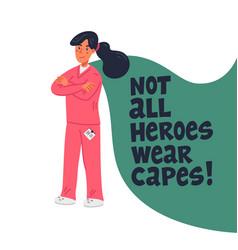 Hero nurse concept confident doctor or nurse with vector