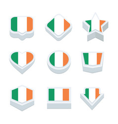 ireland flags icons and button set nine styles vector image