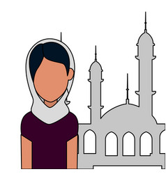 Islamic woman with traditional burka and mosque vector