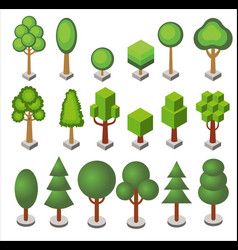 isometric cartoon set forest and city park vector image