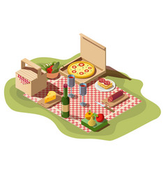 Isometric picnic food pizza box wine and basket vector