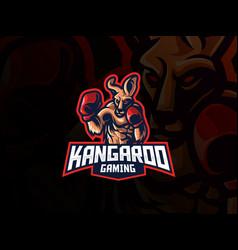 kangaroo mascot sport logo design vector image