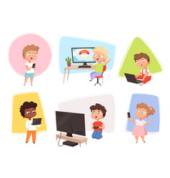 Kids with gadgets future technology children vector