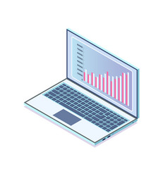 laptop with information in visual representation vector image