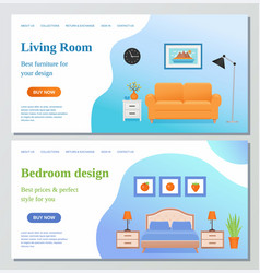 living room bedroom web page design template vector image
