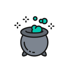 magic potion pot for witches halloween cauldron vector image