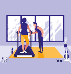 men on treadmill in gym icon vector image