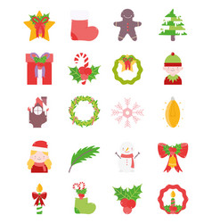 merry christmas decoration ornament icons set vector image
