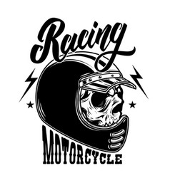 motorcycle racing biker skull in racer helmet for vector image