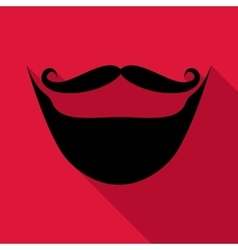Moustache and beard icon flat style vector image