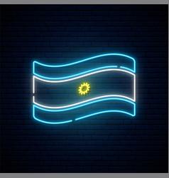 Neon flag argentina argentine declaration vector
