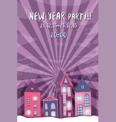 New year retro party flyer with cute street night vector