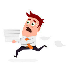 Office worker carries documents with panic vector