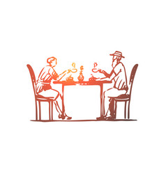old couple coffee senior cafe concept hand vector image