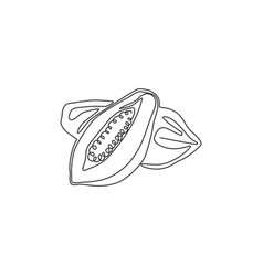one continuous line drawing half sliced and whole vector image