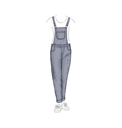Overalls style jeans female denim pants vector